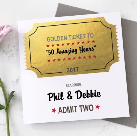 Personalised Golden Anniversary Metallic Ticket Card